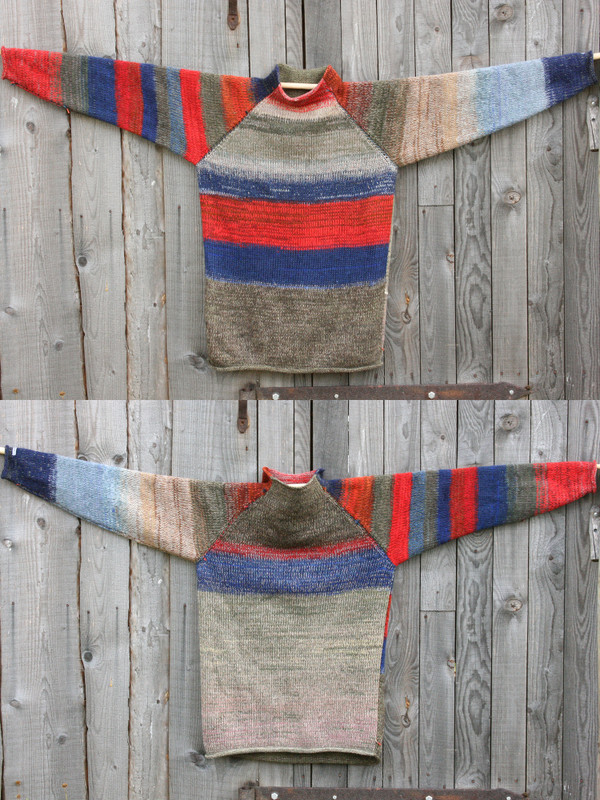 Maasai reversible unisex raglan pullover showing both sides in a double photograph where the sweater is hung on a wood shed, designed and knit by Wrapture by Inese