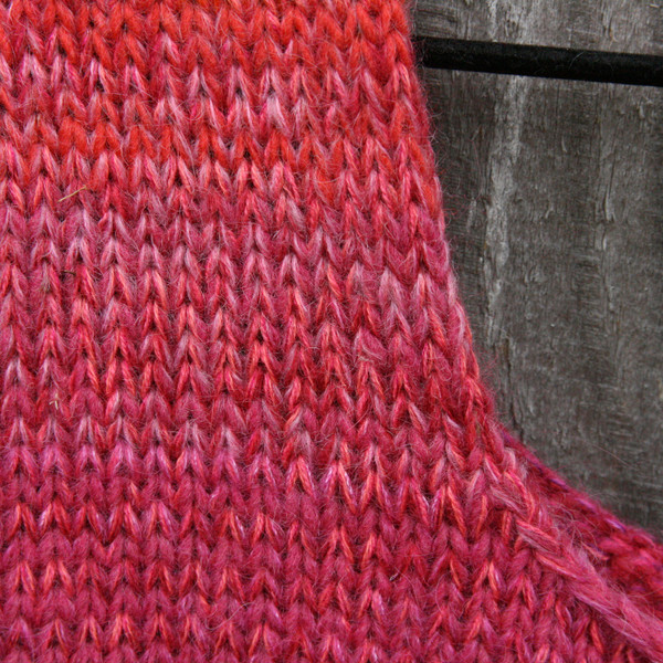 closeup of unique ombre knitting of A-line sarafan dress knit by Wrapture by Inese
