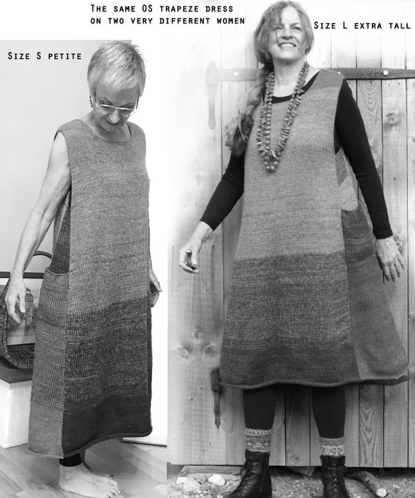 Trapeze dress by Wrapture by Inese worn by a Size S , and a tall size L