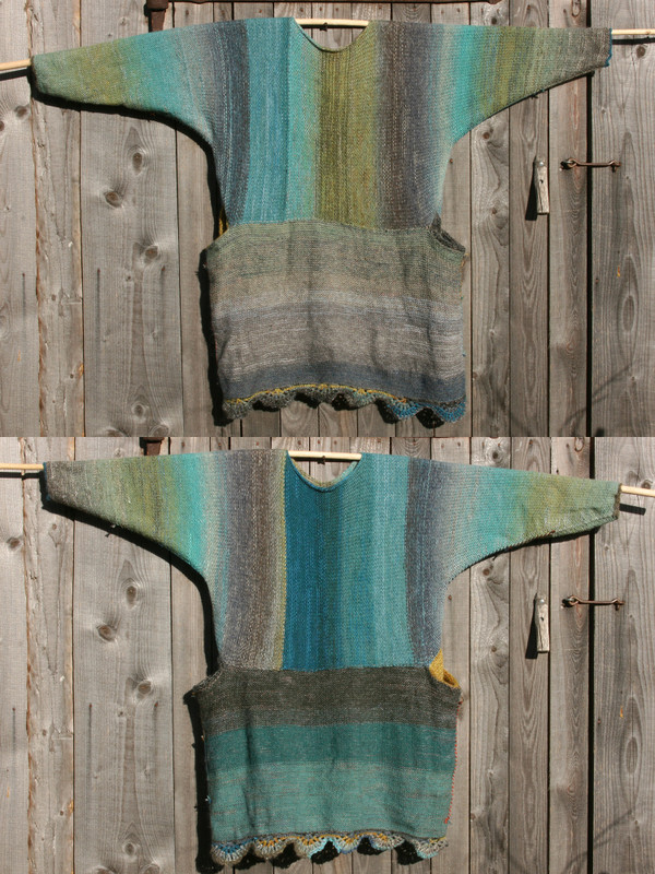 both sides shown in diptych Fjord Edge inspired scalloped hem sweater reversible dress hung on wood pole on side of woodshed, purl side out, knit by Wrapture by Inese