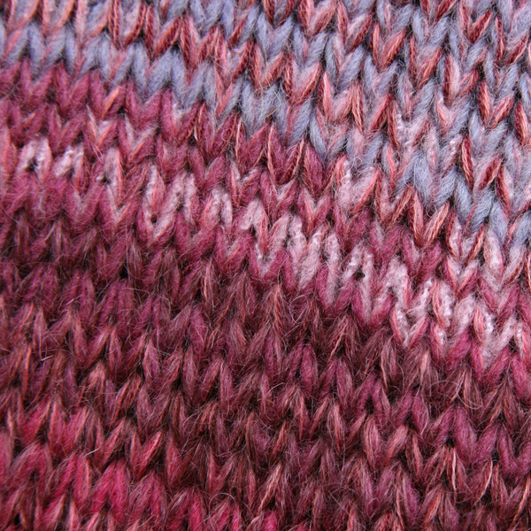 closeup detail of unique ombre knitting of A-line sarafan dress knit by Wrapture by Inese