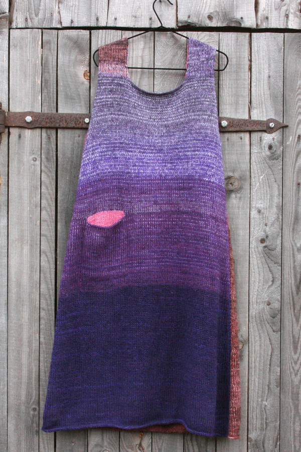 reversible A-line sarafan dress in the colors of home grown beans by Wrapture by Inese