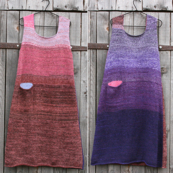 both sides in double photograph of beans inspired reversible a-line dress by Wrapture by Inese