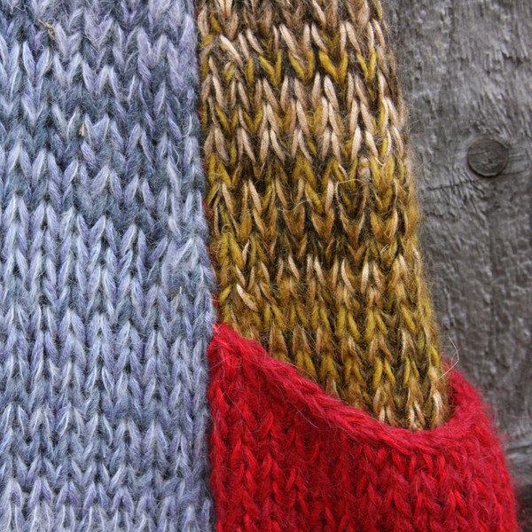 pocket knitting detail of Tatarian dogwood inspired trapeze dress by Wrapture by Inese