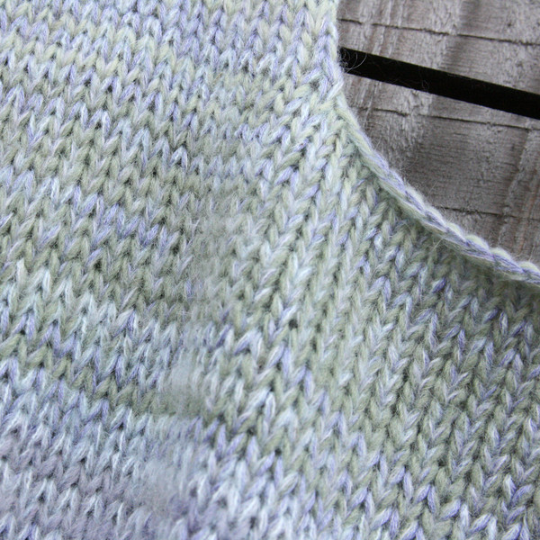 neckline knitting detail of Tatarian dogwood inspired trapeze dress by Wrapture by Inese