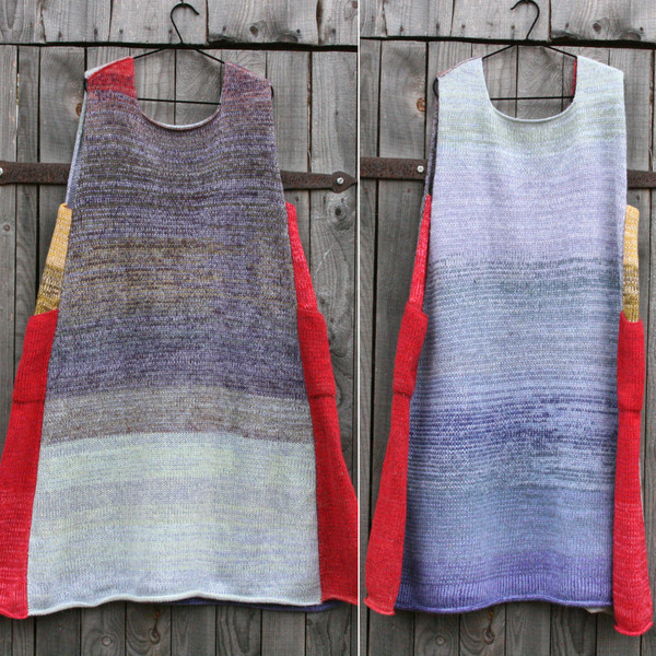 double photo of reversible Tatarian dogwood colors inspired trapeze dress hanging on a coathanger against a wooden wall Wrapture by Inese