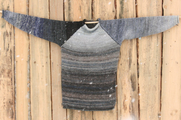 Altai Rain black navy grey raglan pullover sweater size L mens pre-washed Latvian wool, kid mohair, cotton, silk knit by Inese one of a kind unique reversible