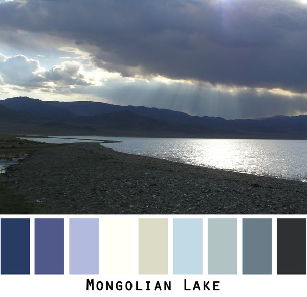 Mongolian Lake - black grey earthy cool tones lake with storm clouds, colors for blue brown green eyes, blonde gray black hair, redhead, brunette, photo by Inese Iris Liepina, Wrapture by Inese