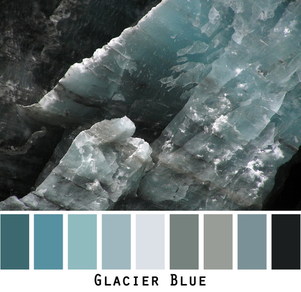 Glacier Blue - teal blue grey black ice, colors for blue green brown eyes, blonde gray brown hair, redhead, black hair, photo by Inese Iris Liepina, Wrapture by Inese