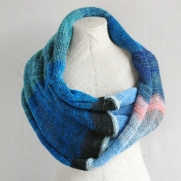 Catalonian Sea shawl wrap mohair, cotton, silk knit  Wrapture by Inese Iris Liepina blue teal navy pink