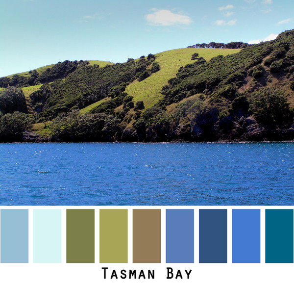 Tasman Bay - bright blue water with moss green chartreuse hillsides colors for blue eyes, green eyes, brown eyes, brunette, redhead - photo by Inese Iris Liepina, Wrapture by Inese