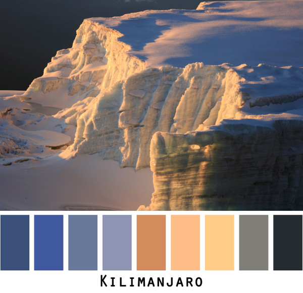 Kilimanjaro - sunrise on snowfields blue gold black grey, colors for blue eyes,  brown eyes, brunette, black hair - photo by Inese Iris Liepina, Wrapture by Inese