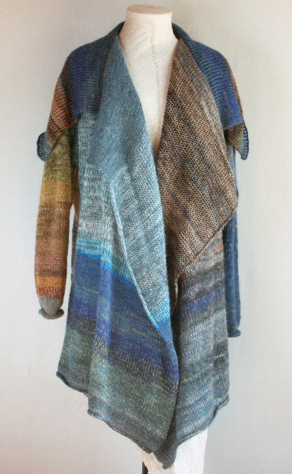 Baltic Sea (darker) XXL Annie cardigan sweater coat Wrapture by Inese blue beige seafoam grey teal