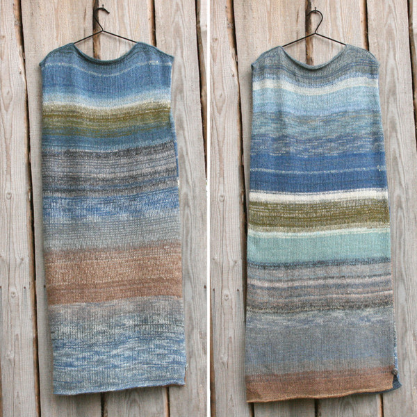 Baltic Sea XL tank dress diptych showing both sides on hanger on wood wall Wrapture by Inese