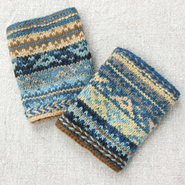Baltic Sea boot toppers hand knit by Inese using naturally dyed yarn in zig zag Māra pattern