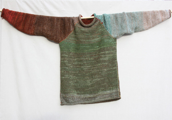 Tree Bark raglan pullover sweater