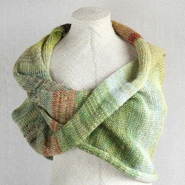 Willow shawl wrap mohair, cotton, silk knit  Wrapture by Inese Iris Liepina sage green celadon gold rust