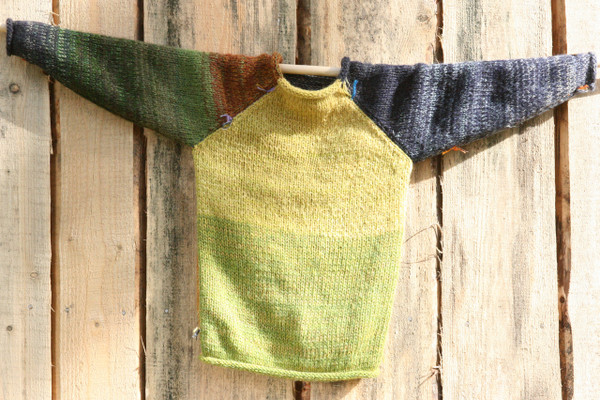 Summer Storm kids raglan pullover sweater wool mohair cotton blended yarns, prewashed, reversible, Wrapture by Inese