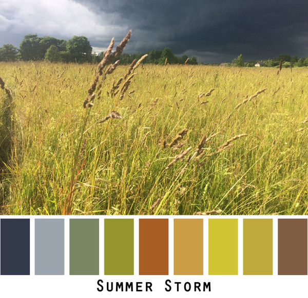 Summer Storm - chartreuse green gold meadow grass inky navy blue storm clouds colors for  green eyes, brown eyes,  brunette, redhead, black hair - photo by Inese Iris Liepina, Wrapture by Inese