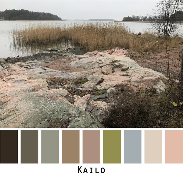 Kailo island view with rocks and pink sand in foreground and marsh grass in the inlet with view of the island in the backgraound. Photographed by Inese Iris Liepina and made into a color card for custom orders.