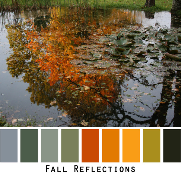 Fall Reflections - blue denim olive green burnt red umber pumpkin orange black an impressionist painting reflected in a pond for grey eyes, green eyes, brown eyes, brunette, redhead, black hair - photo by Inese Iris Liepina, Wrapture by Inese