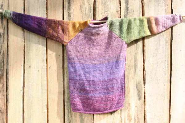 Silpurene wool mohair prewashed knit raglan pullover sweater, purple pink golden orange green size M Wrapture by Inese