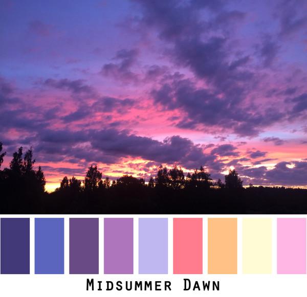 Midsummer Dawn - purple pink lavender plum ink peach mango pale yellow sunrise colors for blue eyes, green eyes, brown eyes, blonde hair, brunette, redhead, black hair, gray hair - photo by Inese Iris Liepina, Wrapture by Inese