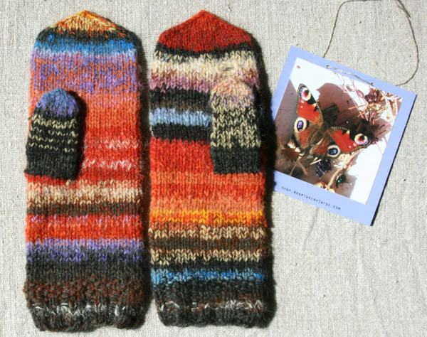 Butterfly hank knit mittens using mohair and natural dyed wool Wrapture by Inese