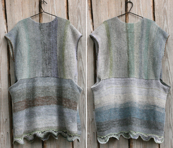 scallop Hem tank dress knit side out in Elephant coloration diptych hung on hangers on a wood wall knit by Wrapture by Inese as a custom order
