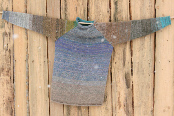 Mongolian Trek blue teal mustard gold green taupe raglan pullover sweater size L mens pre-washed Latvian wool, kid mohair, cotton, silk knit by Inese one of a kind unique reversible