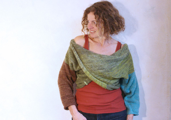 olive tree x-tee wrapture by Inese Iris Liepina kid mohair silk cotton knit pullover olive green brown teal blue