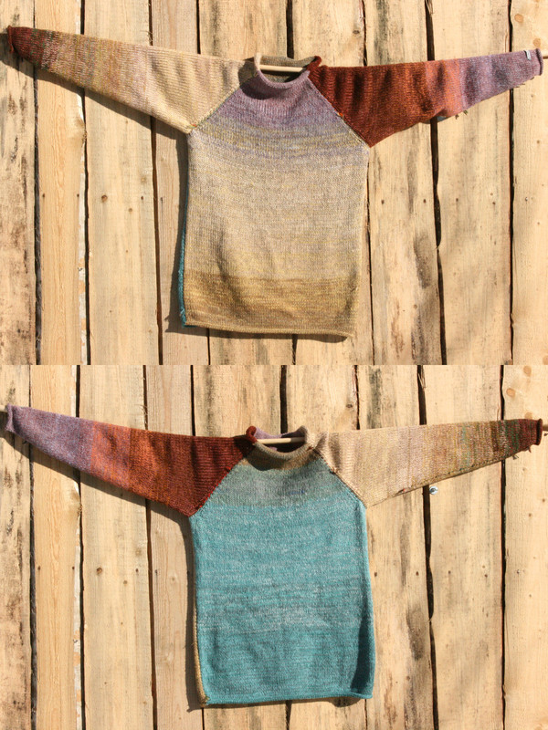 Fragments turquoise blue gold brown lavenderreversible unisex raglan pullover showing both sides in a double photograph where the sweater is hung on a wood shed, designed and knit by Wrapture by Inese