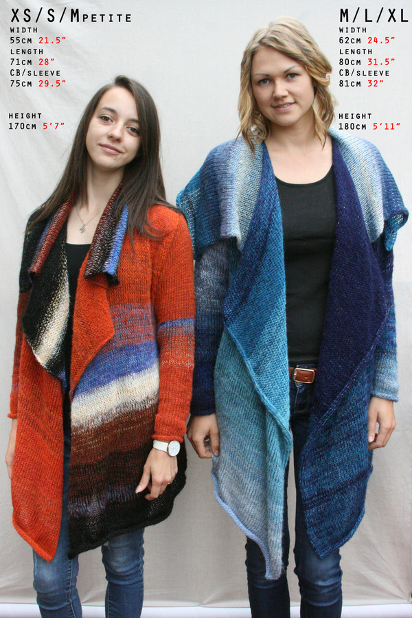 Annie cardigan Coat custom order, ocomparison chart with photo of model in regular OS Annie, and in petite, XS/S Annie with models measurements.