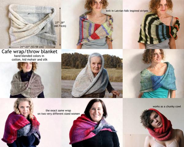 Custom order on of a kind cafe shawl wrap shoulder shawl knit blanket shawl Wrapture by Inese Iris Liepina