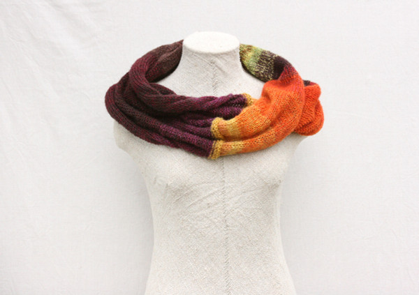 Fall Flower mohair loop scarf Wrapture by Inese Iris Liepina raisin brown orange lime  yellow