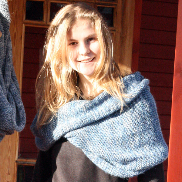 Blue gray marled shawl wrap mohair cotton chunky knit Wrapture by Inese Iris Liepina