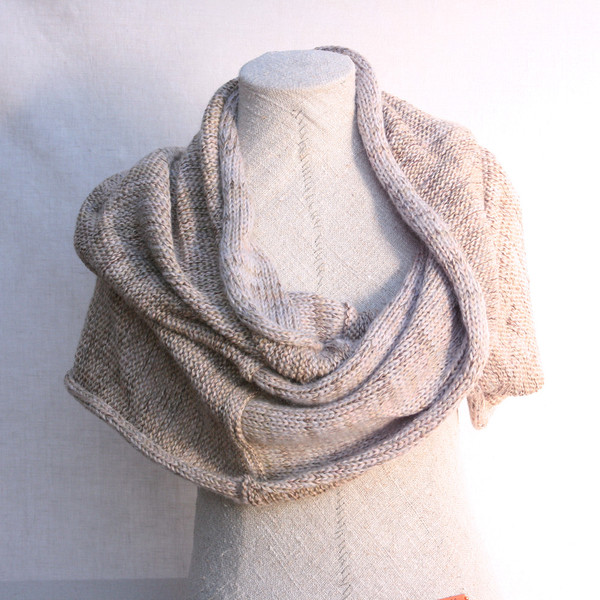 Pink Sand marled shawl wrap mohair cotton chunky knit Wrapture by Inese Iris Liepina