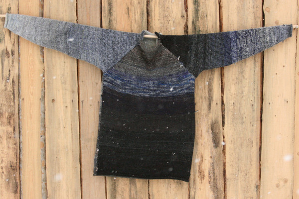 Altai Rain black grey navy blue raglan pullover sweater size L mens pre-washed Latvian wool, kid mohair, cotton, silk knit by Inese one of a kind unique reversible