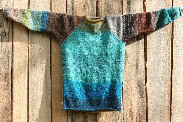 Tongariro Crossing wool mohair raglan sweater size L for men and women unique knitwear by Wrapture by Inese