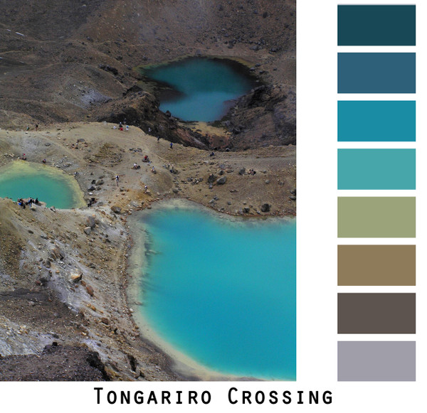 Tongariro crossing teal blue taupe brown grey sand chartreuse geothermal pools photograph by inese iris Liepina