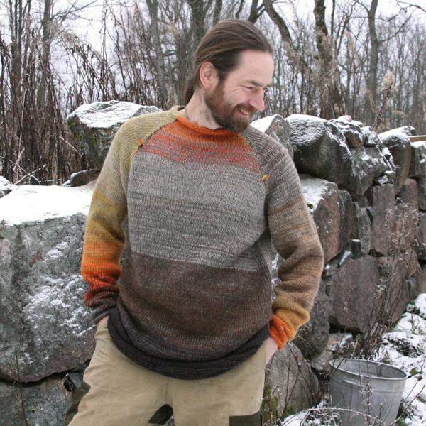 Bearded Rocks brown grey orange Raglan pullover size L worn by bearded man - one of a kind knitwear Wrapture by Inese
