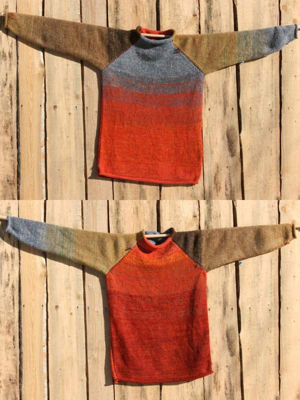 Fall Sky orange rust blue grey taupe raglan pullover sweater size M pre-washed Latvian wool, kid mohair, cotton, silk knit by Inese one of a kind unique reversible