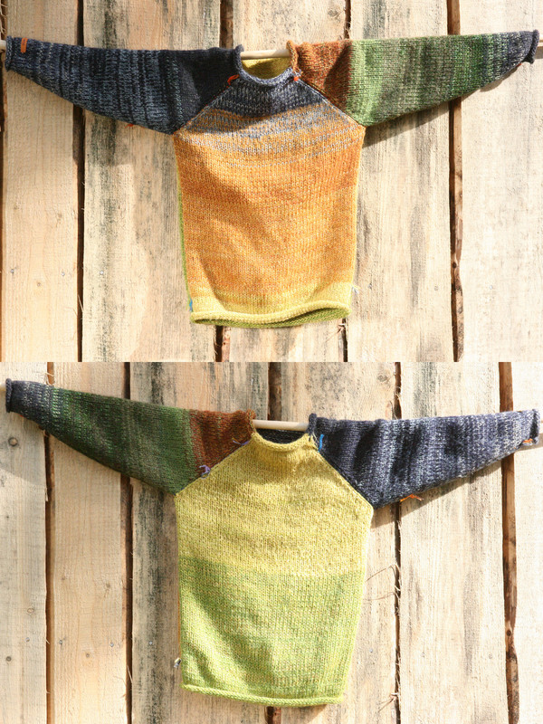 kids reversible unisex raglan pullover showing both sides in a double photograph where the sweater is hung on a wood shed, designed and knit by Wrapture by Inese