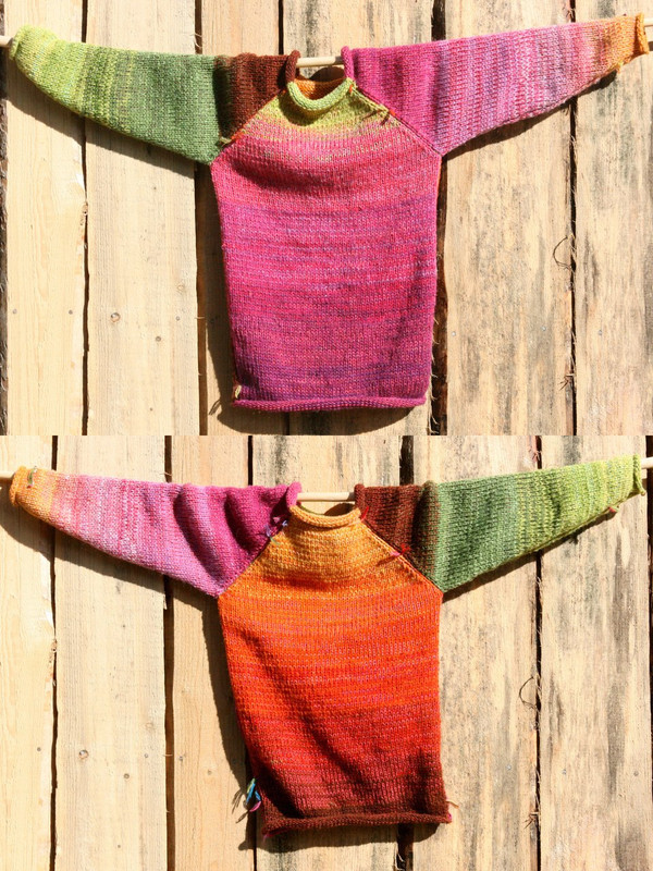 Kids Raglan Pullover Sweater Custom order reversible raglan pullover showing both sides in a double photograph where the sweater is hung on a wood shed, designed and knit by Wrapture by Inese
