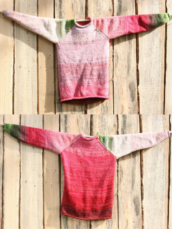 Custom order size adult S wool mohair raglan pullover reversible sweater Wrapture by Inese
