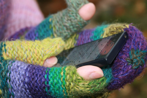 Heather purple green striped Hand Knit Smart Phone Mittens for women with finger and thumbholes prewashed wool, kid mohair, cotton silk blend. Wrapture by Inese for left handed or right handed