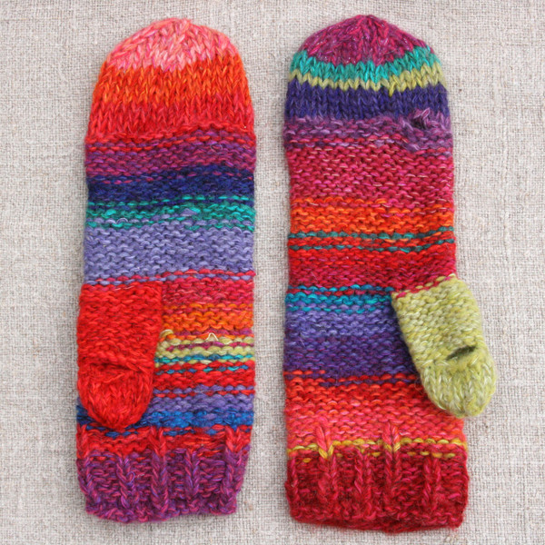 Mexico red striped Hand Knit Smart Phone Mittens for women with finger and thumbholes prewashed wool, kid mohair, cotton silk blend. Wrapture by Inese for left handed or right handed