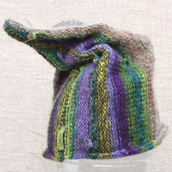Heather purple green grey Pixie Gnome hat knit with wool kid mohair, silk and cotton. Wrapture by Inese