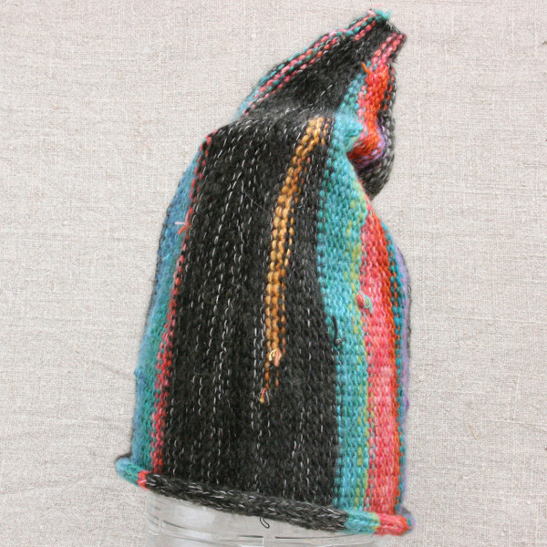 Neon Nights charcoal grey bright turpuoise pink striped pixie gnome hat knit with wool, kid mohair, silk, cotton, prewashed, Wrapture by Inese
