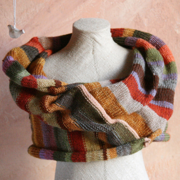 Striped Shawl Wrap mushroom dyed wool yarn mixed with kid mohair, silk and cotton threads. Wrapture by Inese